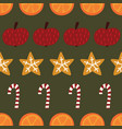 candy canes cookies oranges apples seamless vector image vector image