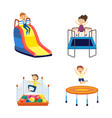 cartoon children in amusement park playground vector image