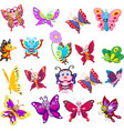 cartoon collection butterfly vector image vector image