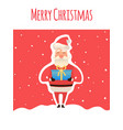 cartoon santa claus with gifts in hands with box vector image vector image