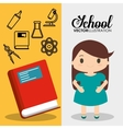 cartoon school pupil girl red book flyier vector image