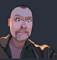 cartoon surprised bald man with wide open eyes