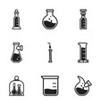 chemical bottle icon set simple style vector image