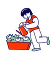 child helper watering home plant in flowerpot from vector image