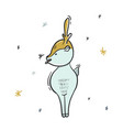 childish deer eating snowflakes cartoon vector image vector image