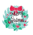 christmas wreath with lettering vector image vector image