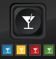 cocktail icon symbol Set of five colorful stylish vector image vector image