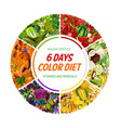 color diet 6 days healthy food nutrition vector image