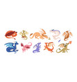 cute baby dragons set happy funny fairytale vector image
