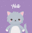 cute gray cat animal standing cartoon purple vector image vector image