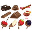 different styles of chocolate dessert vector image vector image