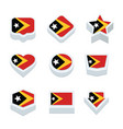 east timor flags icons and button set nine styles vector image