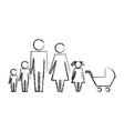 family parents son daughter and bapram vector image