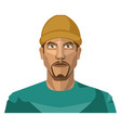 guy with a goatee beard wearing a brown hat on vector image vector image