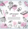 hand drawn happy halloweencardtemplate horror vector image vector image