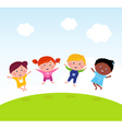 jumping kids on meadow vector image vector image