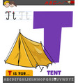 letter t from alphabet with cartoon tent object
