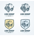 Lion logos badges emblems set vector image vector image