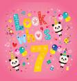 look whos seven seventh birthday card vector image vector image