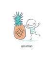 Man and Pineapple vector image