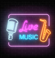 Neon signboard of nightclub with live music