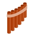 Pan flute icon isometric 3d style vector image vector image