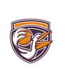 Pelican Passing Basketball Shield Retro vector image