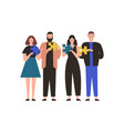 people holding jigsaw puzzle flat vector image vector image