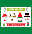 photo booth with christmas characters santa deer vector image vector image