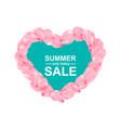 pink sakura heart petals background vector image