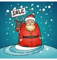 Promotional banner with Santa Claus and reindeer vector image