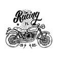racing emblem template with biker motorcycle vector image vector image
