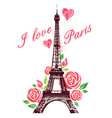 Red watercolor roses and Eiffel Tower vector image