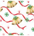 seamless pattern - christmas bells and mistletoe