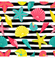 seashell seamless pattern on black and white vector image vector image