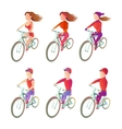 Set cyclists to ride a bike in different physical vector image