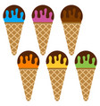 set of ice cream balls with chocolate vector image vector image