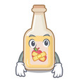 silent bottle apple cider above cartoon table vector image vector image