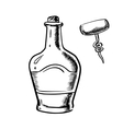 Sketch of whiskey with corkscrew vector image vector image