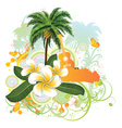 Tropical background with guitar2 vector image