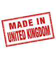 United Kingdom red square grunge made in stamp vector image vector image