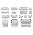 white glass buttons collection 3d icons vector image vector image