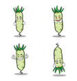 white radish character vegetable set vector image vector image