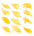 wings fire icon set vector image vector image