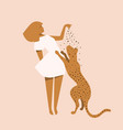 woman and wild cat apparel design concept modern vector image