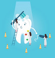 teeth protection character funny brushing it self vector image