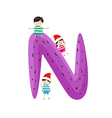 a Kid Leaning on a Letter N vector image vector image