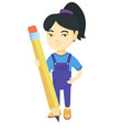asian kid girl standing with a huge pencil vector image vector image
