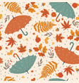 autumn seamless pattern with umbrellas leaves and vector image vector image