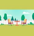 banner or flyer for backyard garden party cartoon